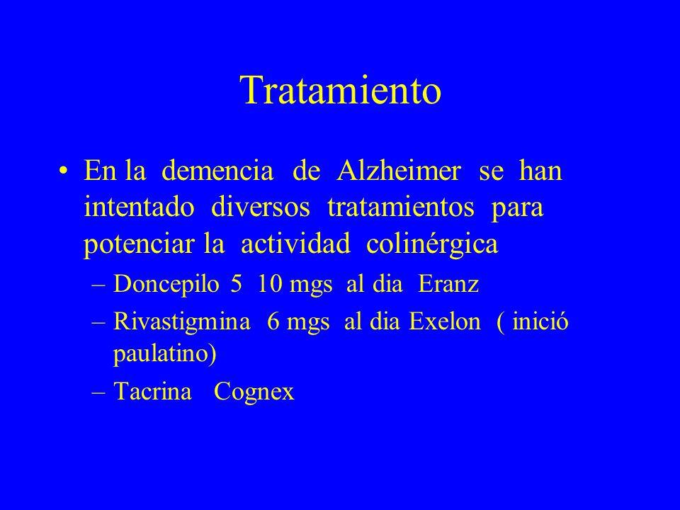 Tratamiento En la demencia de Alzheimer se han intentado diversos tratamientos para potenciar la actividad colinérgica –Doncepilo 5 10 mgs al dia Eran