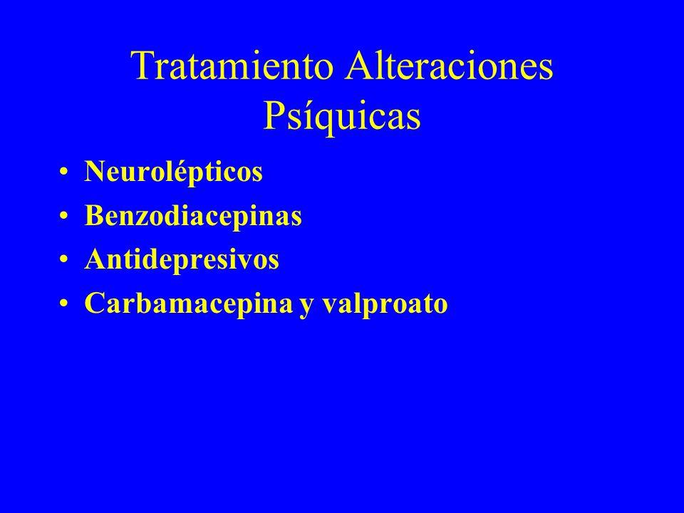 Tratamiento Alteraciones Psíquicas Neurolépticos Benzodiacepinas Antidepresivos Carbamacepina y valproato