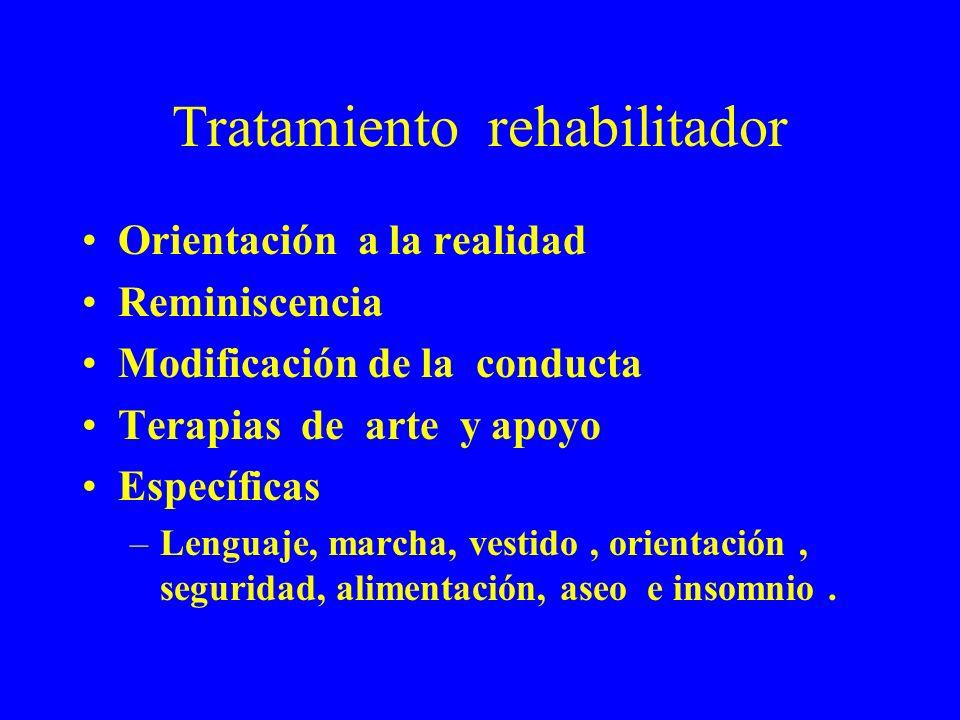 Tratamiento rehabilitador Orientación a la realidad Reminiscencia Modificación de la conducta Terapias de arte y apoyo Específicas –Lenguaje, marcha,