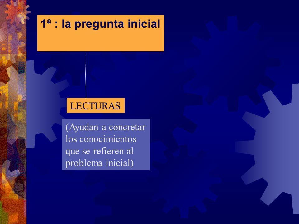 1ª : la pregunta inicial LECTURAS (Ayudan a concretar los conocimientos que se refieren al problema inicial)