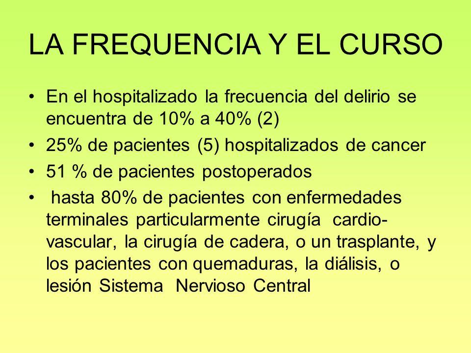 LA FREQUENCIA Y EL CURSO En el hospitalizado la frecuencia del delirio se encuentra de 10% a 40% (2) 25% de pacientes (5) hospitalizados de cancer 51