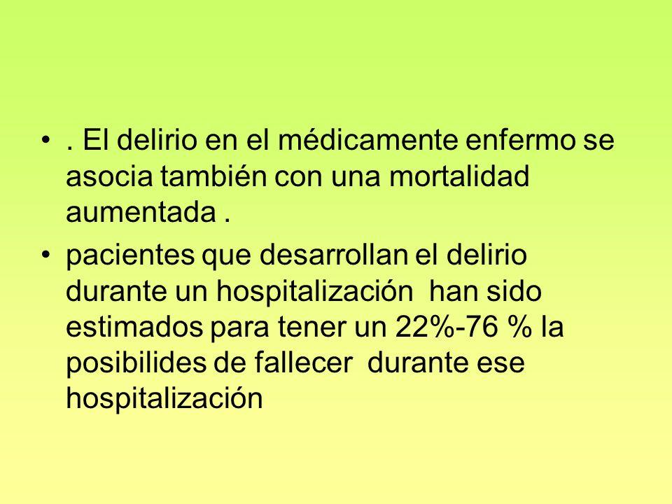 . El delirio en el médicamente enfermo se asocia también con una mortalidad aumentada. pacientes que desarrollan el delirio durante un hospitalización