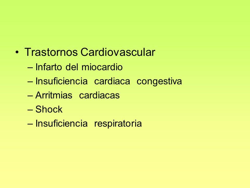 Trastornos Cardiovascular –Infarto del miocardio –Insuficiencia cardiaca congestiva –Arritmias cardiacas –Shock –Insuficiencia respiratoria