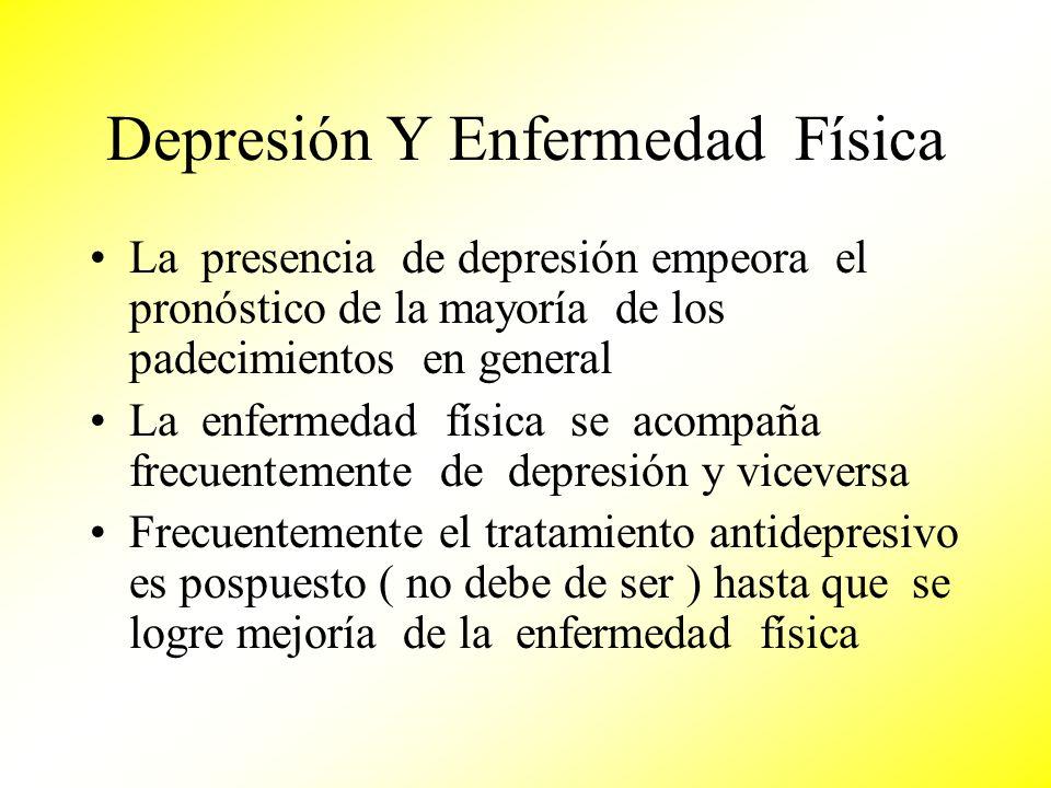 Depresión Y Enfermedad Física La presencia de depresión empeora el pronóstico de la mayoría de los padecimientos en general La enfermedad física se ac