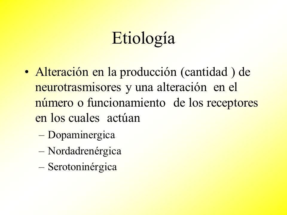 Etiología Alteración en la producción (cantidad ) de neurotrasmisores y una alteración en el número o funcionamiento de los receptores en los cuales a