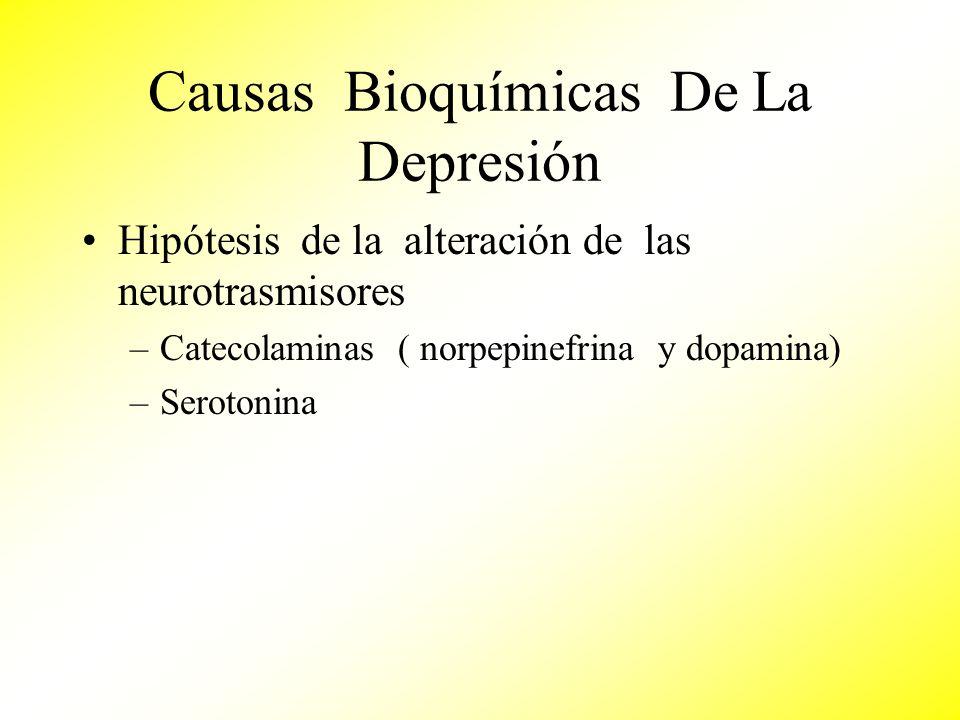 Causas Bioquímicas De La Depresión Hipótesis de la alteración de las neurotrasmisores –Catecolaminas ( norpepinefrina y dopamina) –Serotonina
