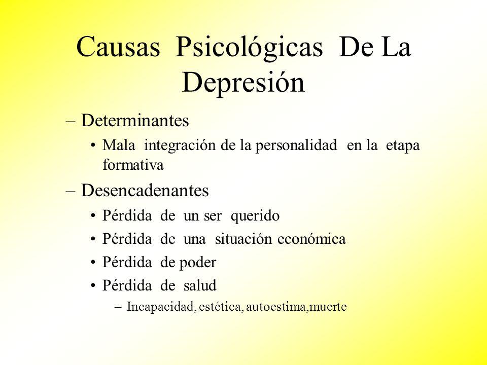 Causas Psicológicas De La Depresión –Determinantes Mala integración de la personalidad en la etapa formativa –Desencadenantes Pérdida de un ser querid