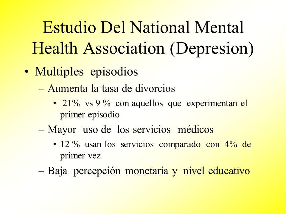 Estudio Del National Mental Health Association (Depresion) Multiples episodios –Aumenta la tasa de divorcios 21% vs 9 % con aquellos que experimentan