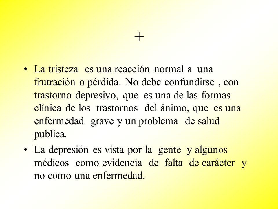 + La tristeza es una reacción normal a una frutración o pérdida. No debe confundirse, con trastorno depresivo, que es una de las formas clínica de los