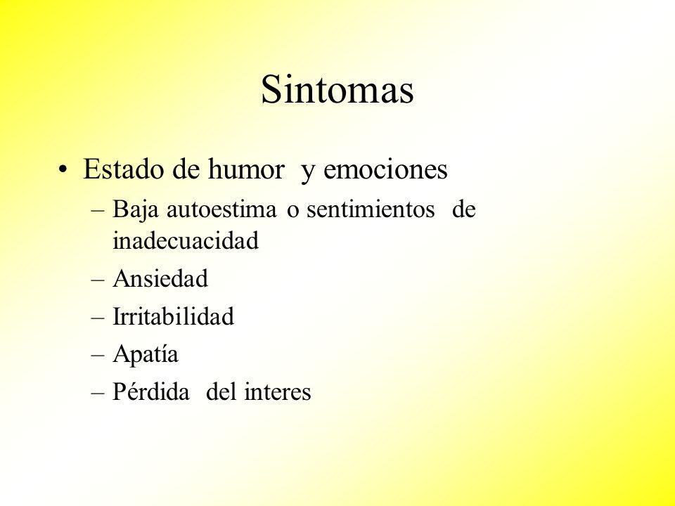 Sintomas Estado de humor y emociones –Baja autoestima o sentimientos de inadecuacidad –Ansiedad –Irritabilidad –Apatía –Pérdida del interes