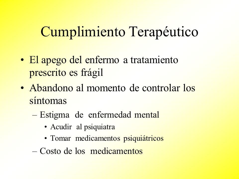 Cumplimiento Terapéutico El apego del enfermo a tratamiento prescrito es frágil Abandono al momento de controlar los síntomas –Estigma de enfermedad m