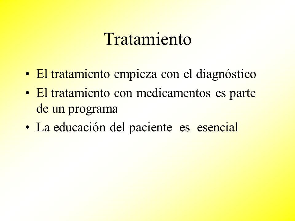 Tratamiento El tratamiento empieza con el diagnóstico El tratamiento con medicamentos es parte de un programa La educación del paciente es esencial