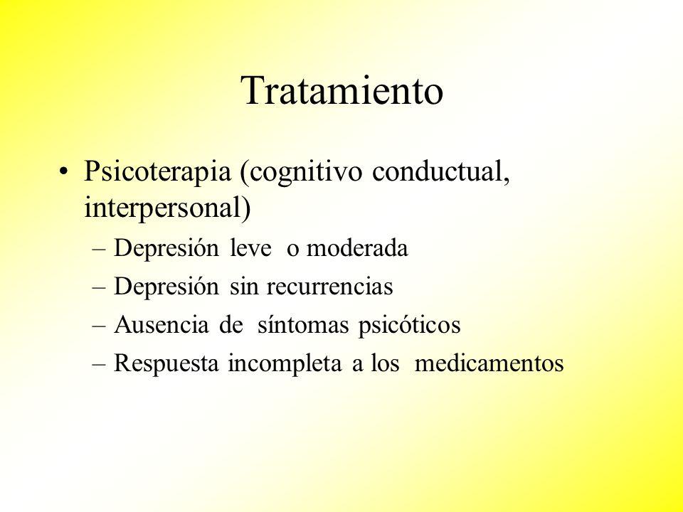 Tratamiento Psicoterapia (cognitivo conductual, interpersonal) –Depresión leve o moderada –Depresión sin recurrencias –Ausencia de síntomas psicóticos