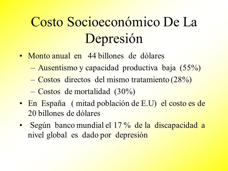 Costo Socioeconómico De La Depresión Monto anual en 44 billones de dólares –Ausentismo y capacidad productiva baja (55%) –Costos directos del mismo tr