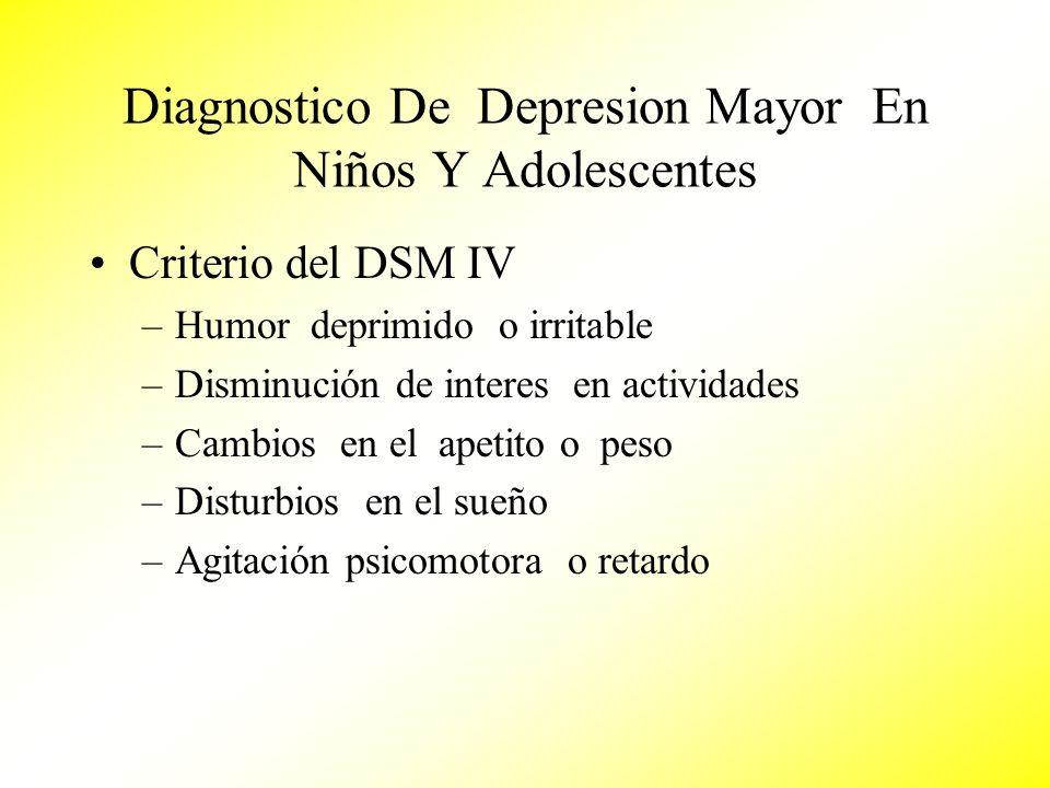 Diagnostico De Depresion Mayor En Niños Y Adolescentes Criterio del DSM IV –Humor deprimido o irritable –Disminución de interes en actividades –Cambio