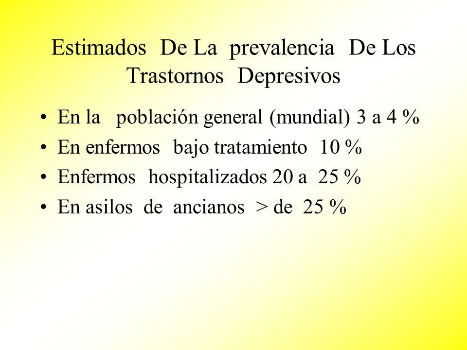Estimados De La prevalencia De Los Trastornos Depresivos En la población general (mundial) 3 a 4 % En enfermos bajo tratamiento 10 % Enfermos hospital