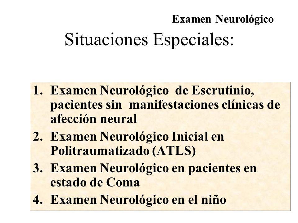 Escala de Glasgow (> 4 años) Examen Neurológico A.- Apertura Ocular B.- Mejor Respuesta Motora Ninguna...............1Ninguna.......