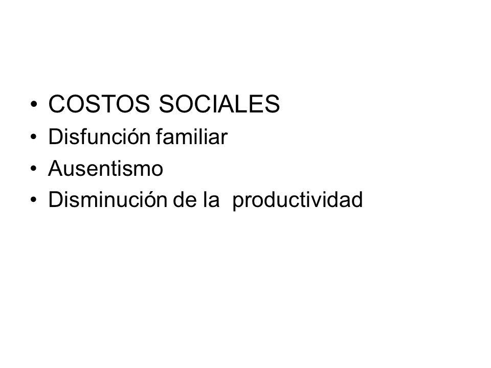 COSTOS SOCIALES Disfunción familiar Ausentismo Disminución de la productividad
