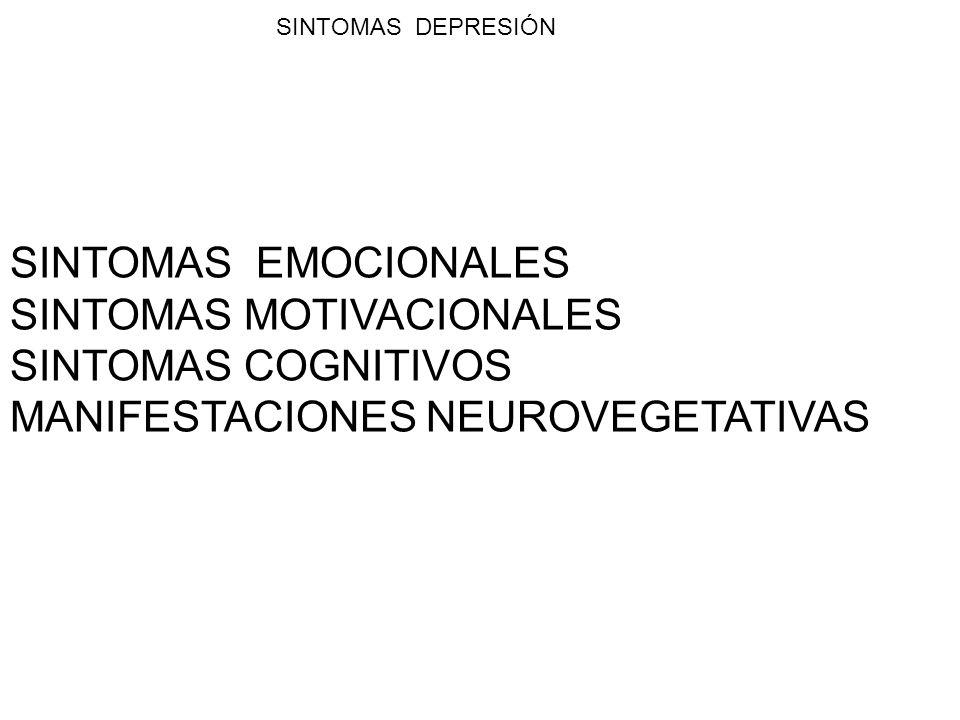SINTOMAS EMOCIONALES SINTOMAS MOTIVACIONALES SINTOMAS COGNITIVOS MANIFESTACIONES NEUROVEGETATIVAS SINTOMAS DEPRESIÓN