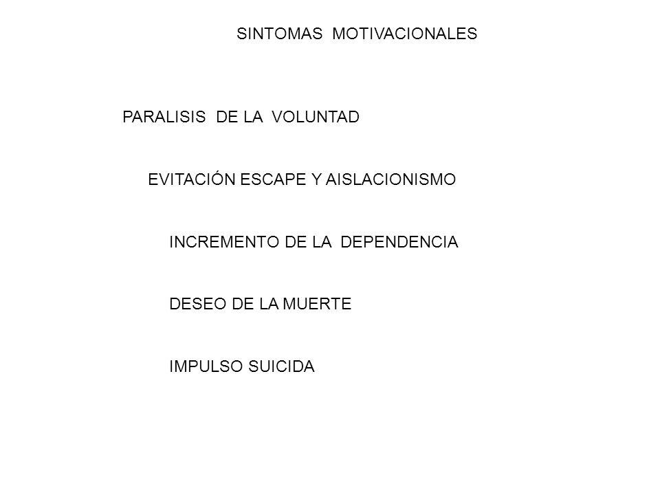 SINTOMAS MOTIVACIONALES PARALISIS DE LA VOLUNTAD EVITACIÓN ESCAPE Y AISLACIONISMO INCREMENTO DE LA DEPENDENCIA DESEO DE LA MUERTE IMPULSO SUICIDA