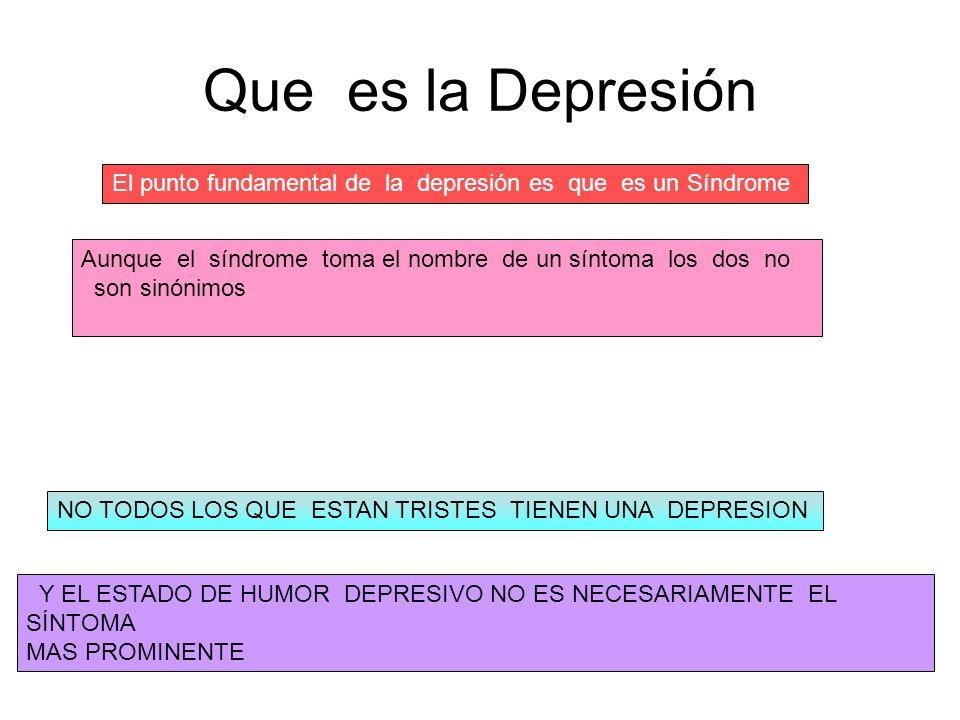 Que es la Depresión El punto fundamental de la depresión es que es un Síndrome Aunque el síndrome toma el nombre de un síntoma los dos no son sinónimo