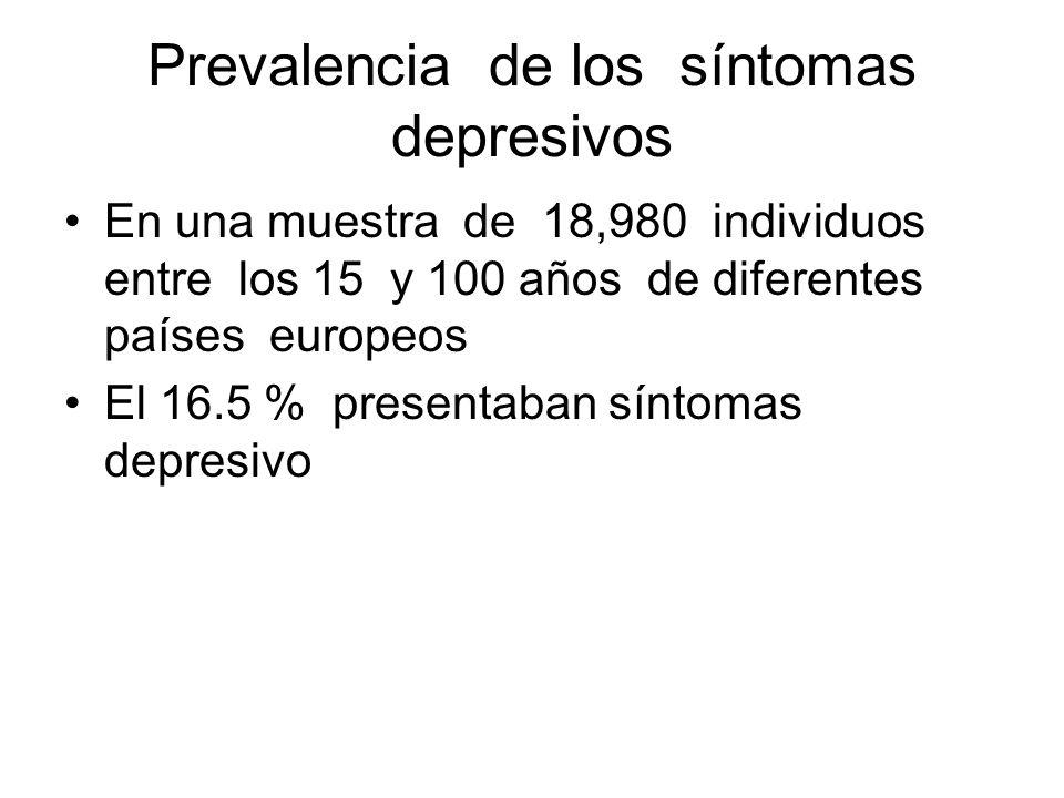 Prevalencia de los síntomas depresivos En una muestra de 18,980 individuos entre los 15 y 100 años de diferentes países europeos El 16.5 % presentaban