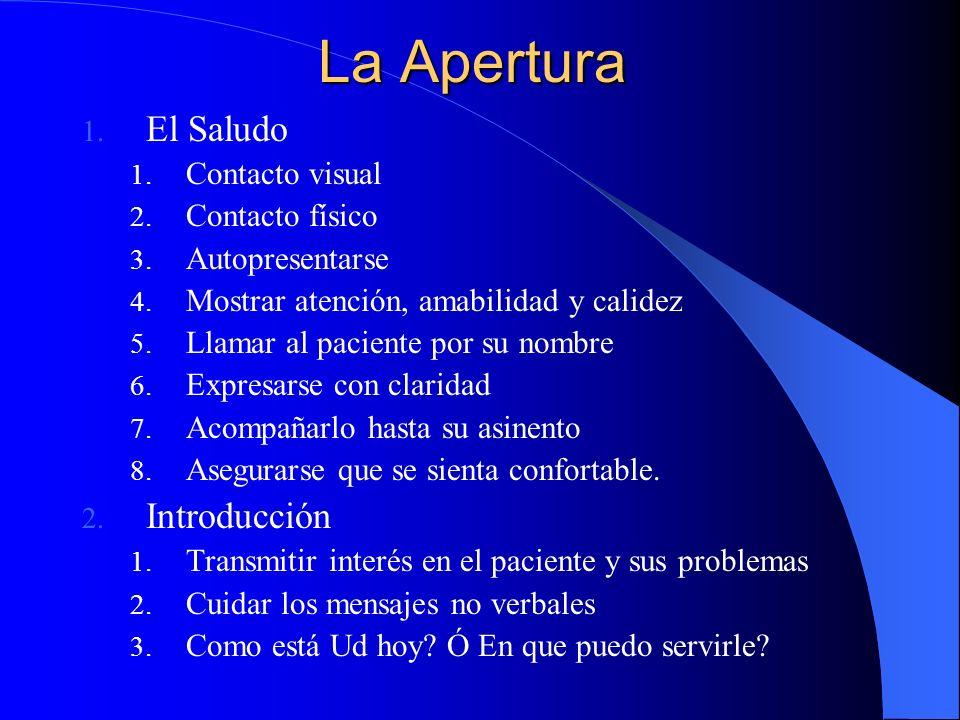 La Apertura 2.Reconocimiento de problemas 1. Permitir la expresión libre de sus problemas 2.