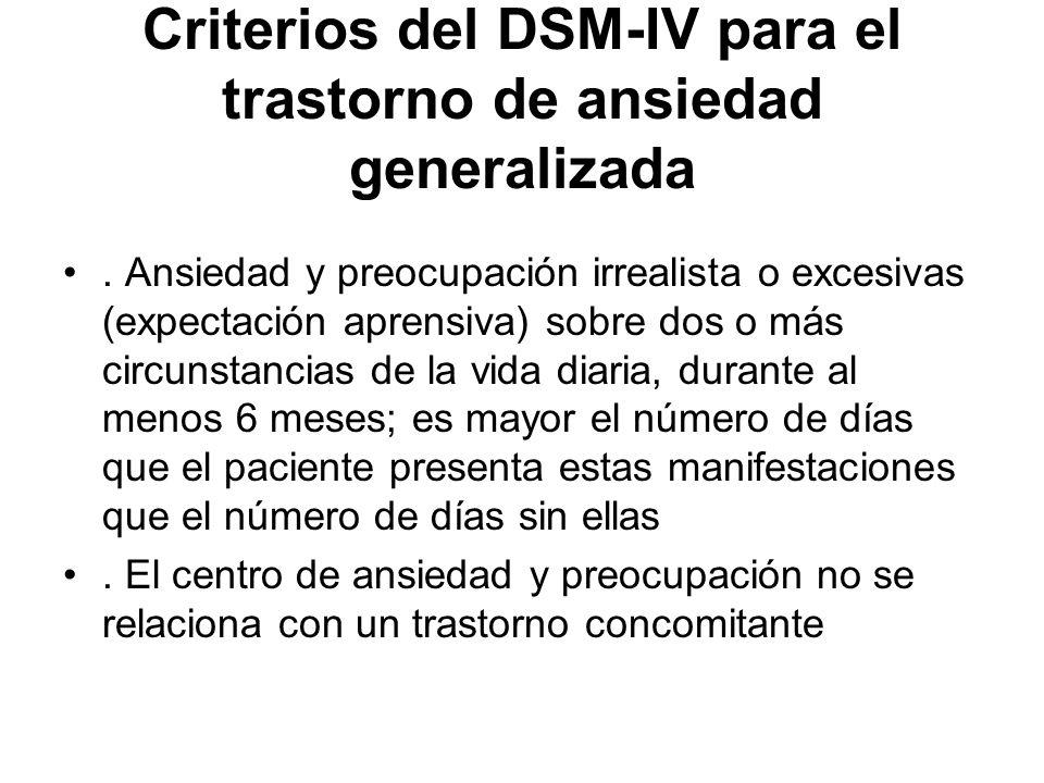 Criterios del DSM-IV para el trastorno de ansiedad generalizada. Ansiedad y preocupación irrealista o excesivas (expectación aprensiva) sobre dos o má