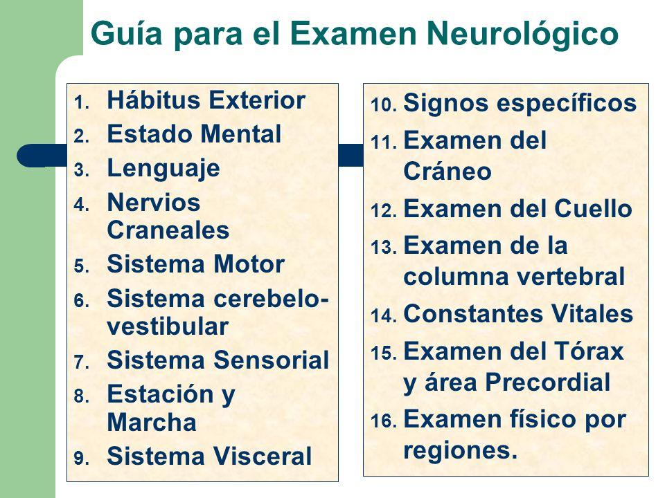 Guía para el Examen Neurológico 1. Hábitus Exterior 2. Estado Mental 3. Lenguaje 4. Nervios Craneales 5. Sistema Motor 6. Sistema cerebelo- vestibular