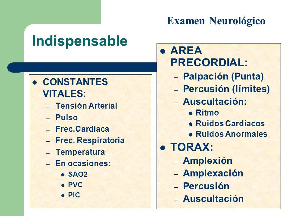 Indispensable CONSTANTES VITALES: – Tensión Arterial – Pulso – Frec.Cardiaca – Frec. Respiratoria – Temperatura – En ocasiones: SAO2 PVC PIC AREA PREC