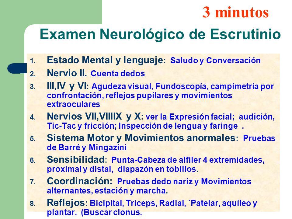 Examen Neurológico de Escrutinio 1. Estado Mental y lenguaje : Saludo y Conversación 2. Nervio II. Cuenta dedos 3. III,IV y VI : Agudeza visual, Fundo