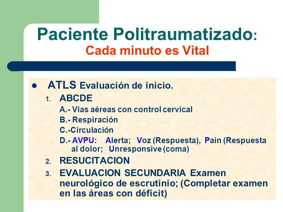 Paciente Politraumatizado : Cada minuto es Vital ATLS Evaluación de inicio. 1. ABCDE A.- Vías aéreas con control cervical B.- Respiración C.-Circulaci