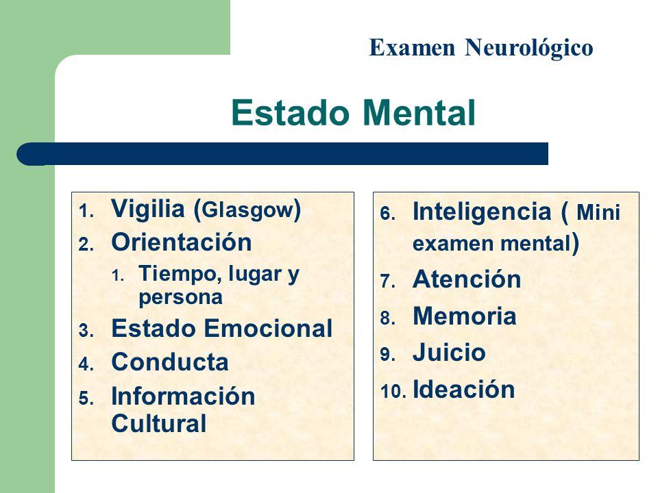 Estado Mental 1. Vigilia ( Glasgow ) 2. Orientación 1. Tiempo, lugar y persona 3. Estado Emocional 4. Conducta 5. Información Cultural 6. Inteligencia