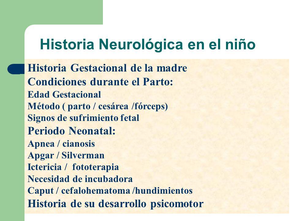 Historia Neurológica en el niño Historia Gestacional de la madre Condiciones durante el Parto: Edad Gestacional Método ( parto / cesárea /fórceps) Sig