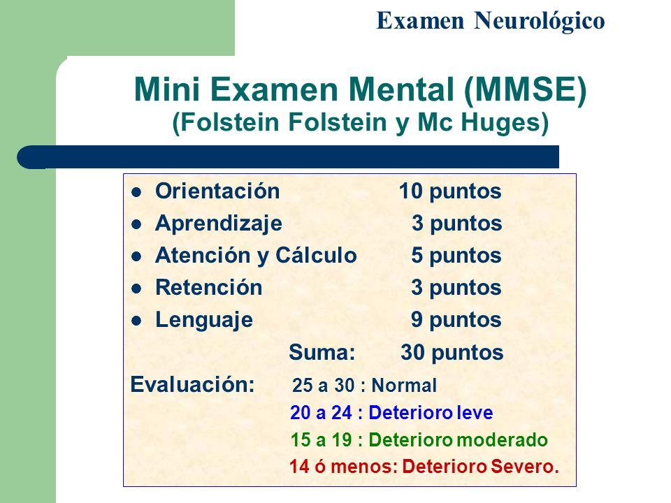 Mini Examen Mental (MMSE) (Folstein Folstein y Mc Huges) Orientación10 puntos Aprendizaje 3 puntos Atención y Cálculo 5 puntos Retención 3 puntos Leng