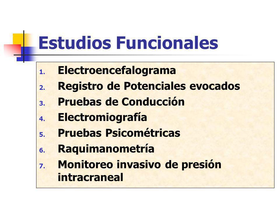 Estudios Funcionales 1. Electroencefalograma 2. Registro de Potenciales evocados 3. Pruebas de Conducción 4. Electromiografía 5. Pruebas Psicométricas
