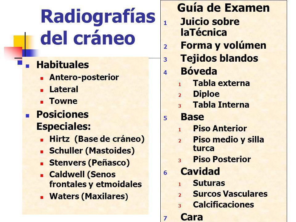 Radiografías del cráneo Habituales Antero-posterior Lateral Towne Posiciones Especiales: Hirtz (Base de cráneo) Schuller (Mastoides) Stenvers (Peñasco
