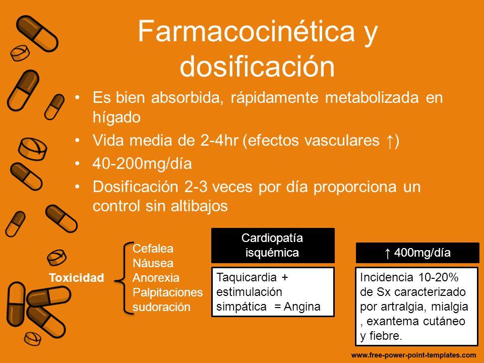 Farmacocinética y dosificación Es bien absorbida, rápidamente metabolizada en hígado Vida media de 2-4hr (efectos vasculares ) 40-200mg/día Dosificaci