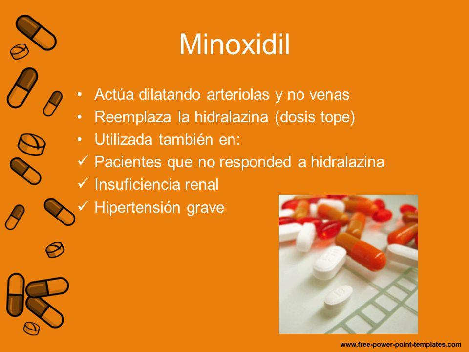 Minoxidil Actúa dilatando arteriolas y no venas Reemplaza la hidralazina (dosis tope) Utilizada también en: Pacientes que no responded a hidralazina I