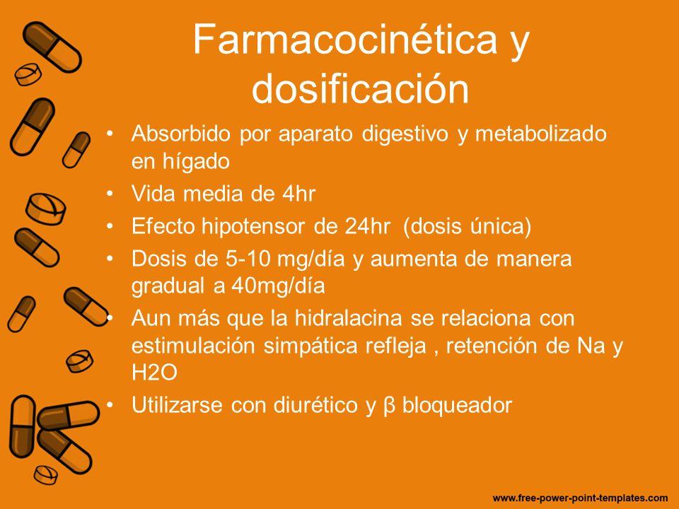 Farmacocinética y dosificación Absorbido por aparato digestivo y metabolizado en hígado Vida media de 4hr Efecto hipotensor de 24hr (dosis única) Dosi