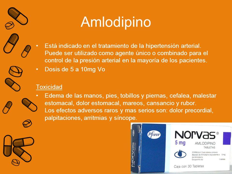 Amlodipino Está indicado en el tratamiento de la hipertensión arterial. Puede ser utilizado como agente único o combinado para el control de la presió