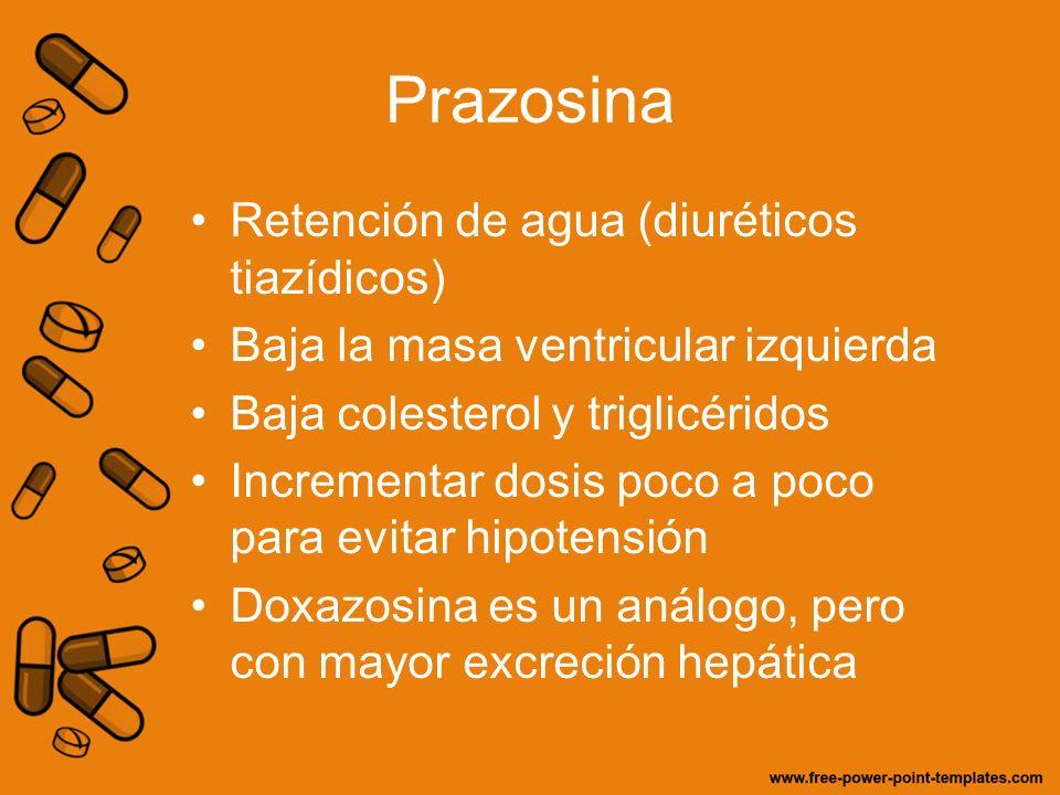 Prazosina Retención de agua (diuréticos tiazídicos) Baja la masa ventricular izquierda Baja colesterol y triglicéridos Incrementar dosis poco a poco p