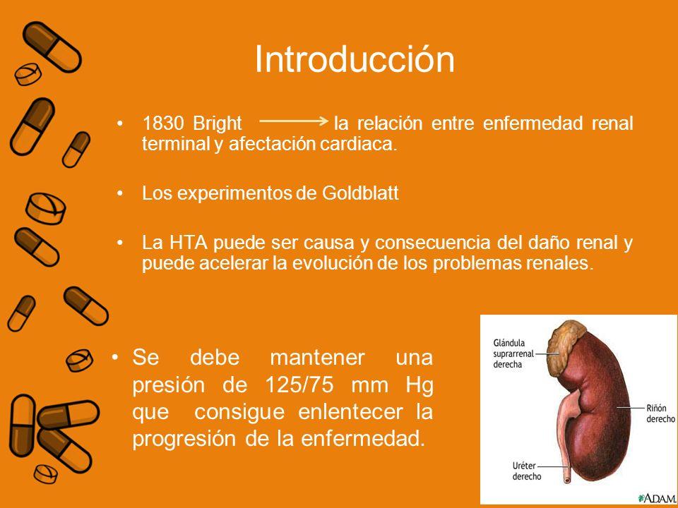 1830 Bright la relación entre enfermedad renal terminal y afectación cardiaca. Los experimentos de Goldblatt La HTA puede ser causa y consecuencia del