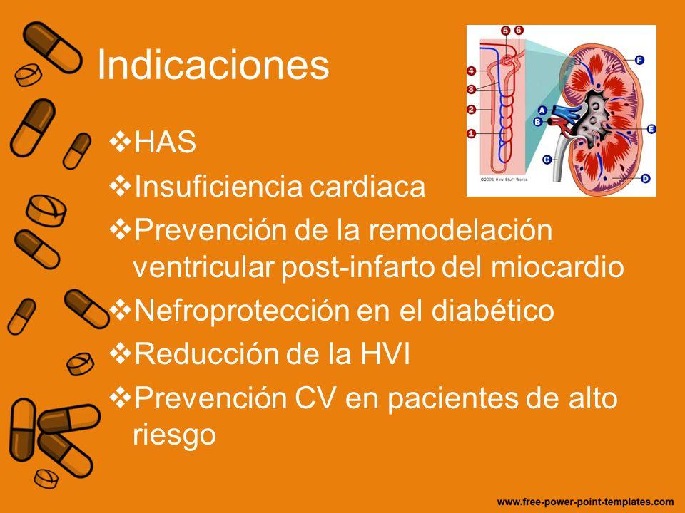 Indicaciones HAS Insuficiencia cardiaca Prevención de la remodelación ventricular post-infarto del miocardio Nefroprotección en el diabético Reducción