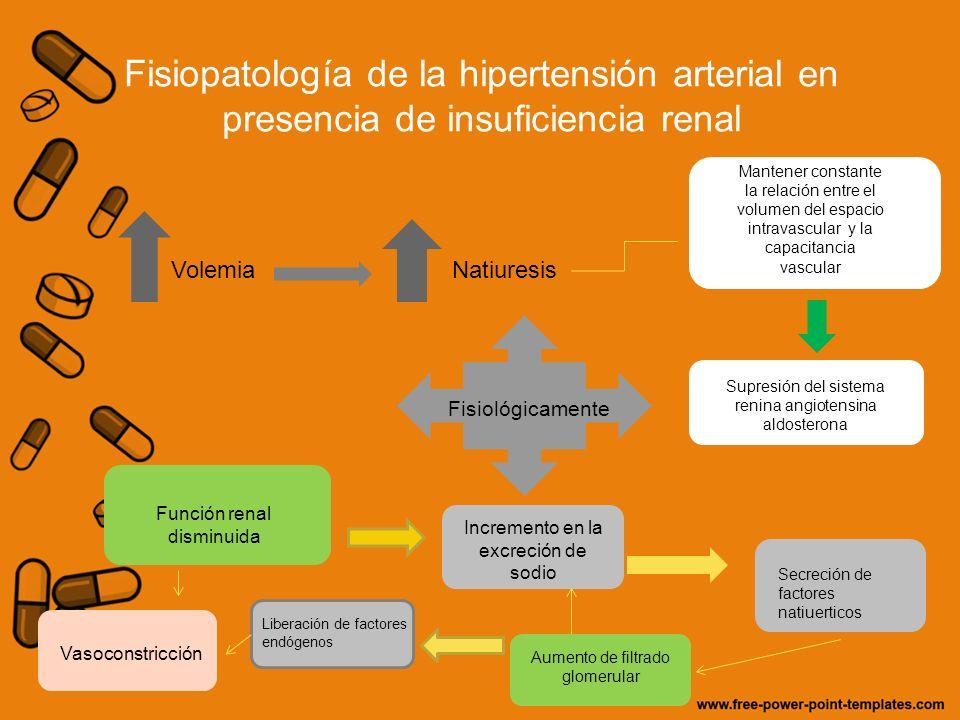 Fisiopatología de la hipertensión arterial en presencia de insuficiencia renal VolemiaNatiuresis Mantener constante la relación entre el volumen del e