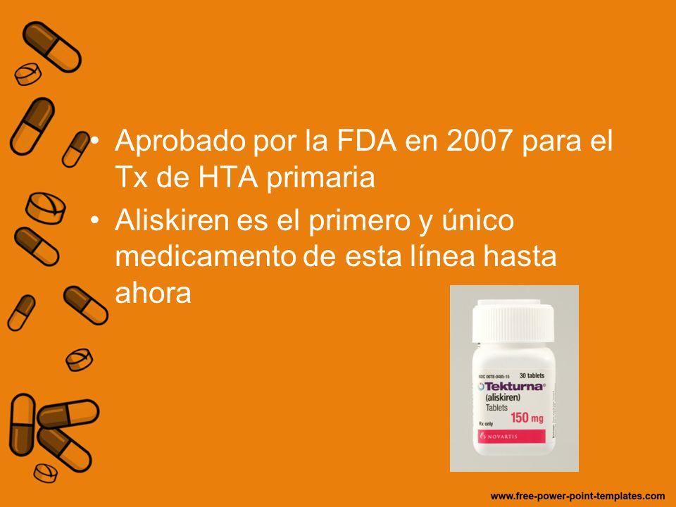 Aprobado por la FDA en 2007 para el Tx de HTA primaria Aliskiren es el primero y único medicamento de esta línea hasta ahora