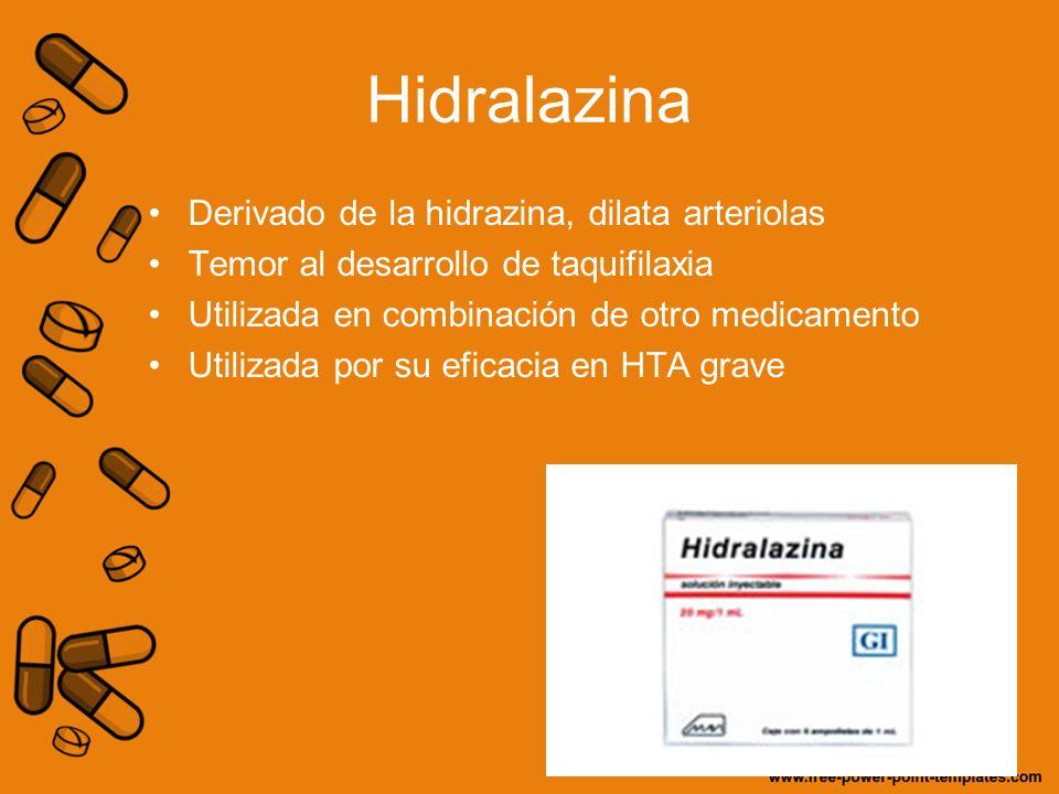 Hidralazina Derivado de la hidrazina, dilata arteriolas Temor al desarrollo de taquifilaxia Utilizada en combinación de otro medicamento Utilizada por