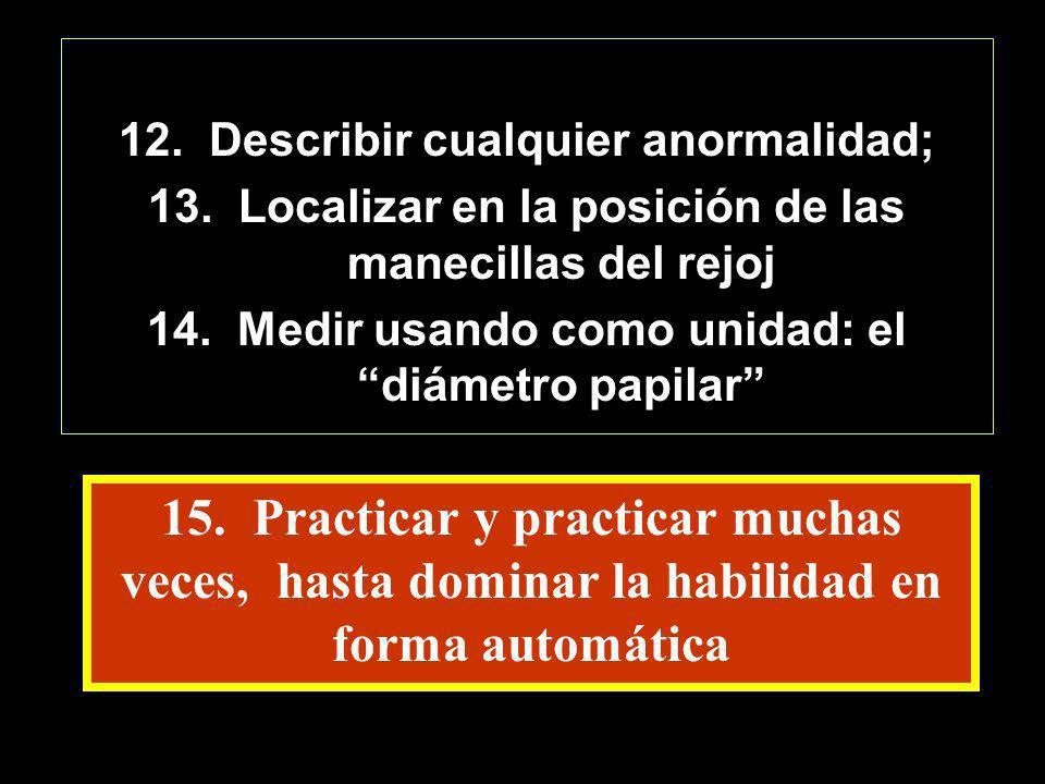 12. Describir cualquier anormalidad; 13. Localizar en la posición de las manecillas del rejoj 14. Medir usando como unidad: el diámetro papilar 15. Pr