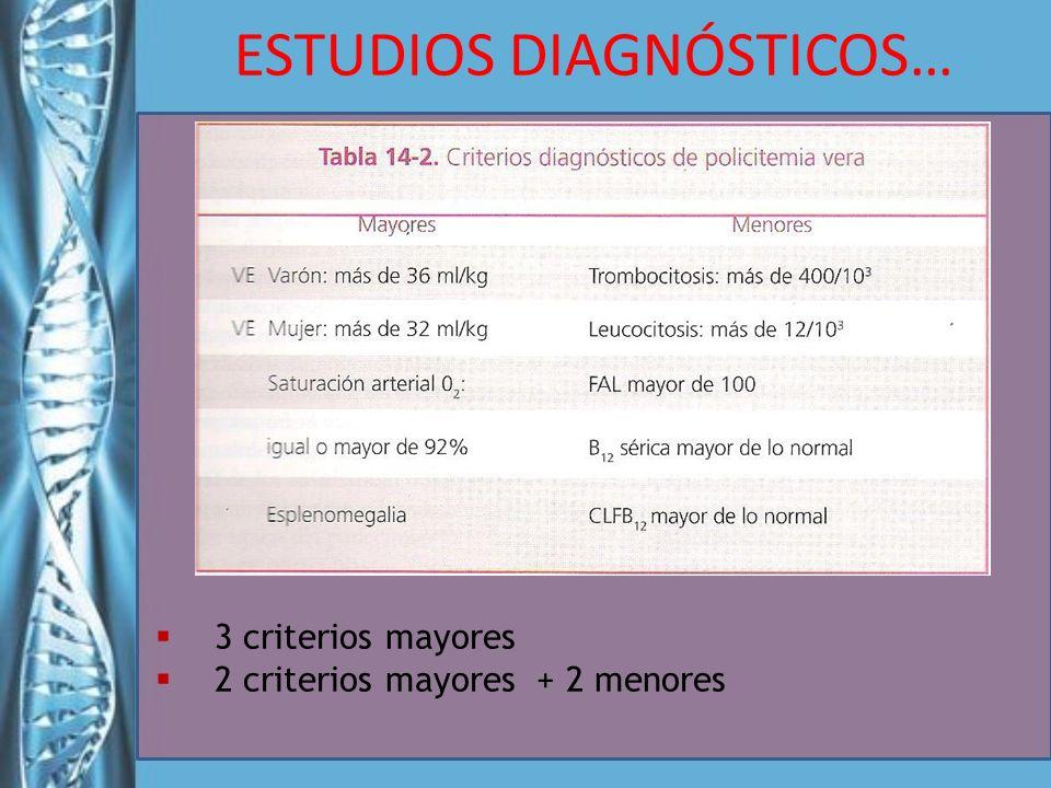 3 criterios mayores 2 criterios mayores + 2 menores ESTUDIOS DIAGNÓSTICOS…