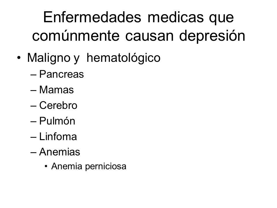 Enfermedades medicas que comúnmente causan depresión Maligno y hematológico –Pancreas –Mamas –Cerebro –Pulmón –Linfoma –Anemias Anemia perniciosa